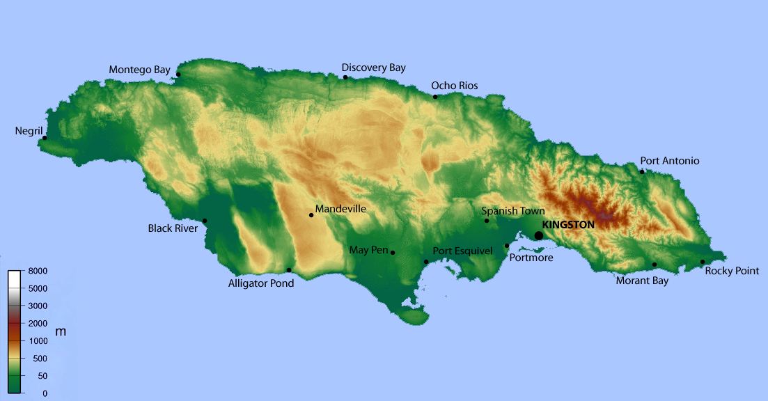 Map of Jamaica Topographic Map online Maps and Travel I