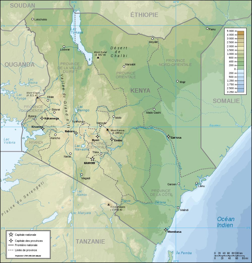 Map Of Kenya (Topographic Map) : Worldofmaps.net