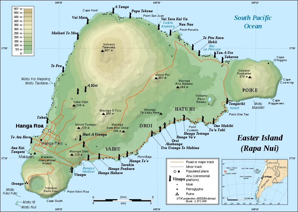 Map Of Easter Island Topographic Map Worldofmaps Net Online