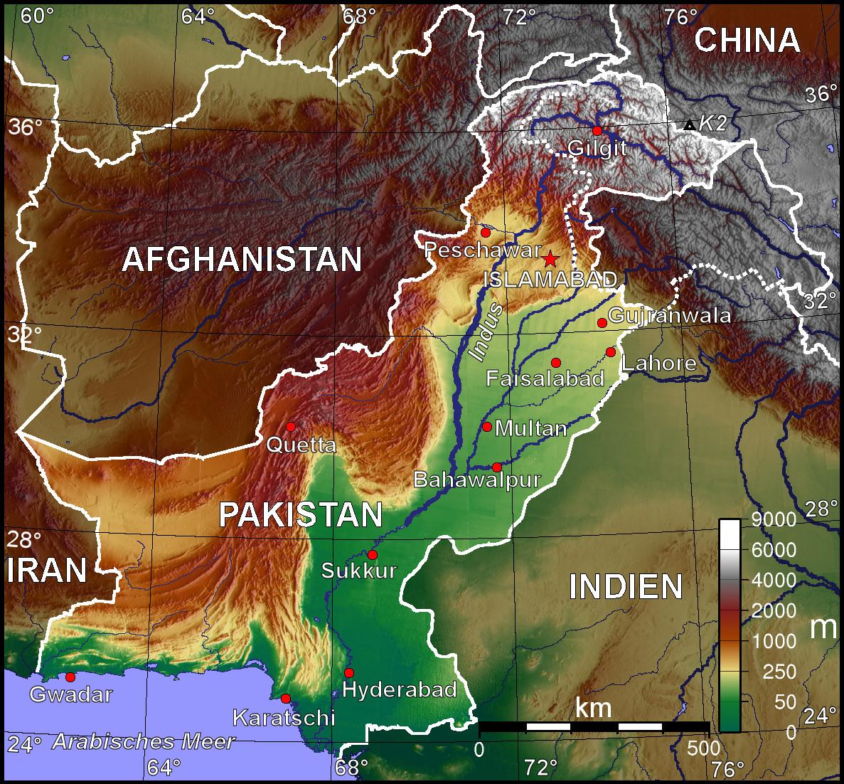 Map Of Pakistan Topographic Map Worldofmapsnet Online Maps - Maps of pakistan