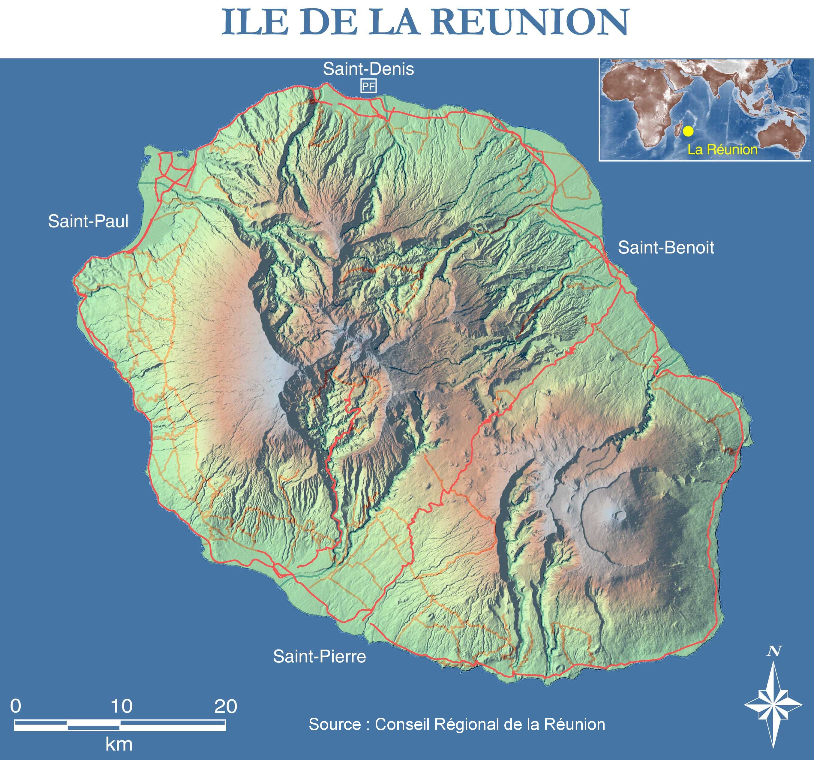 Map Of Reunion Topographic Map Weltkarte Com Karten Und