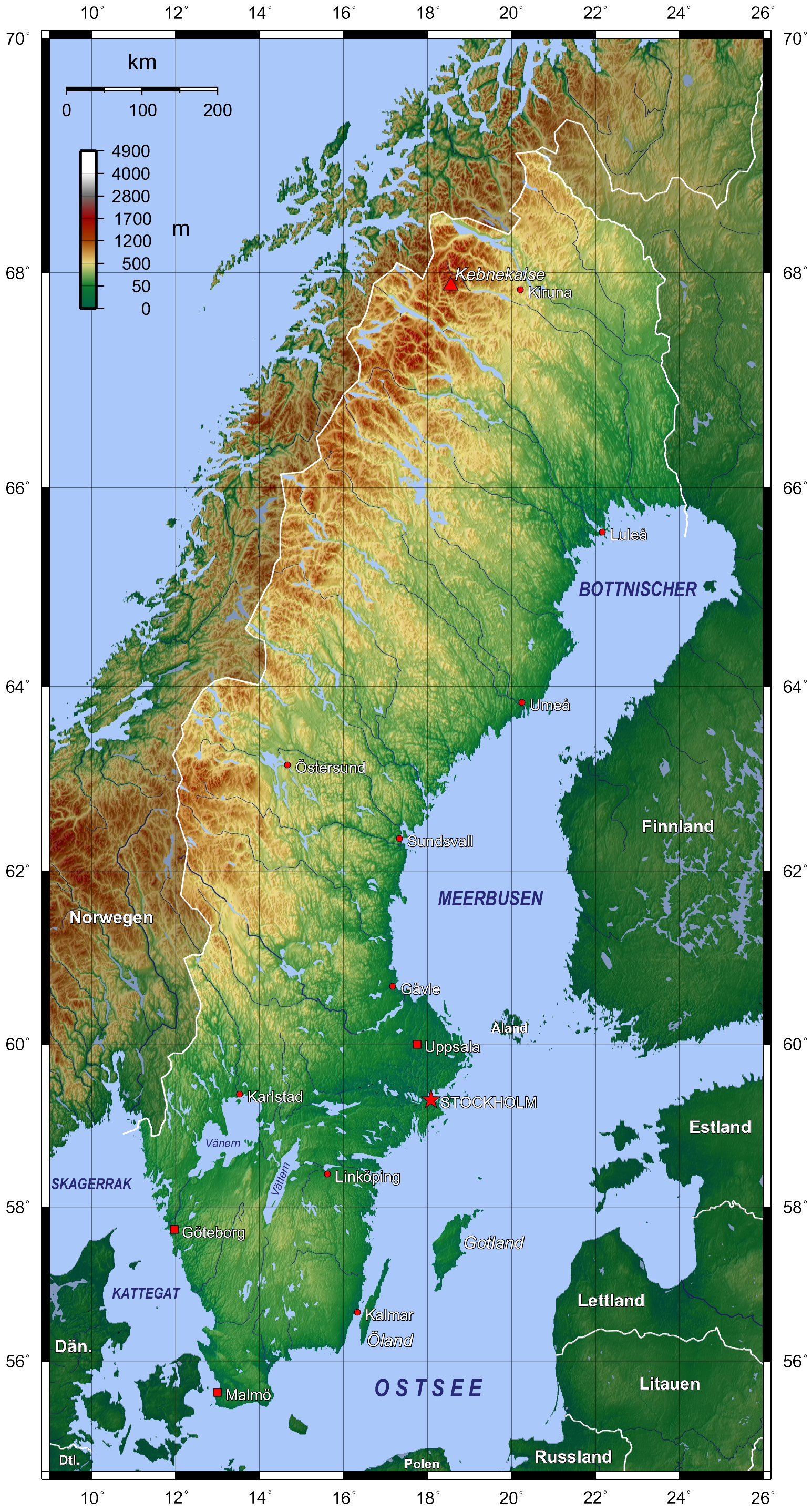 Map of Sweden Topographic Map online Maps and Travel In