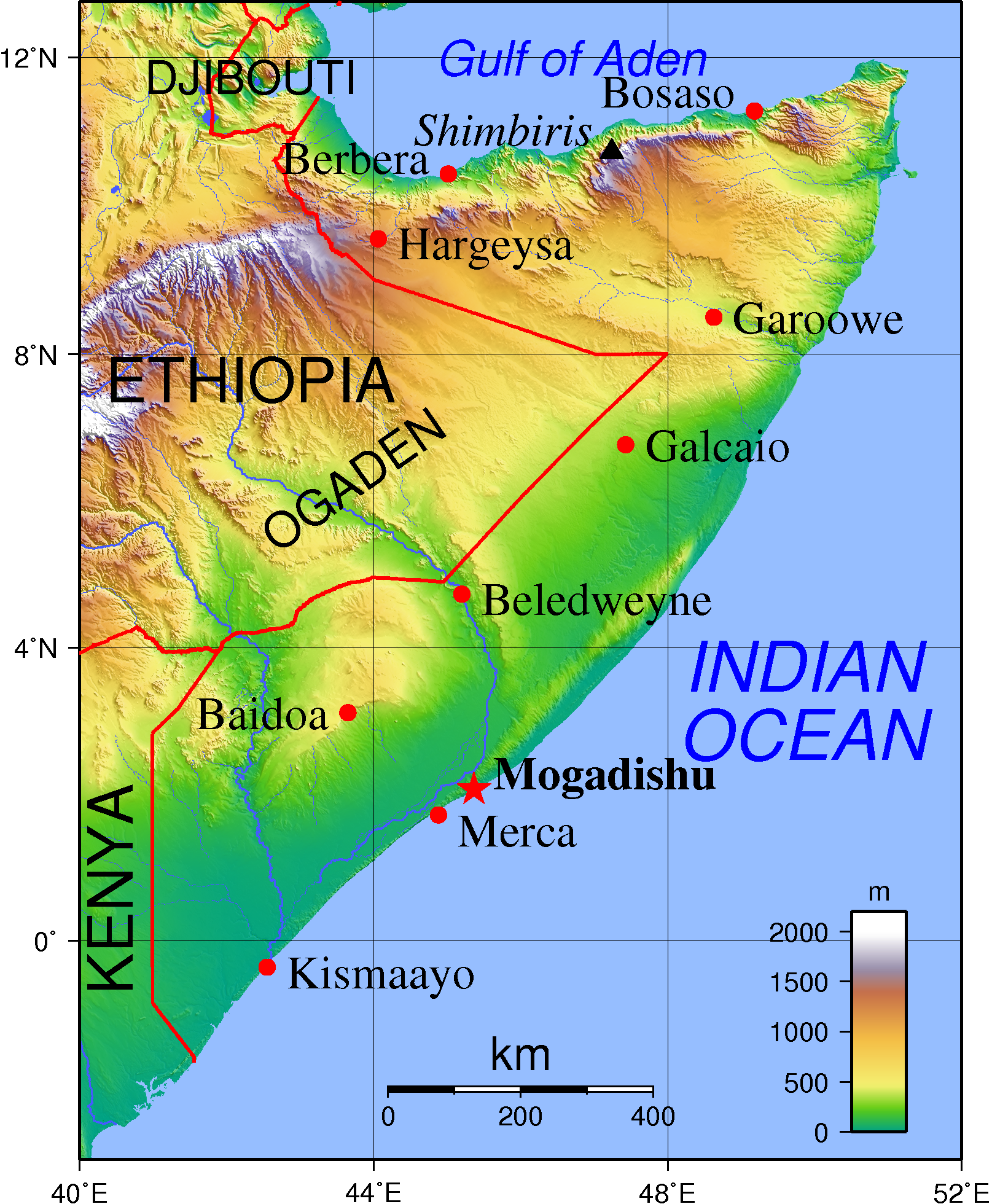 Map fo Somalia (Topographic Map) : Worldofmaps.net - online Maps and ...