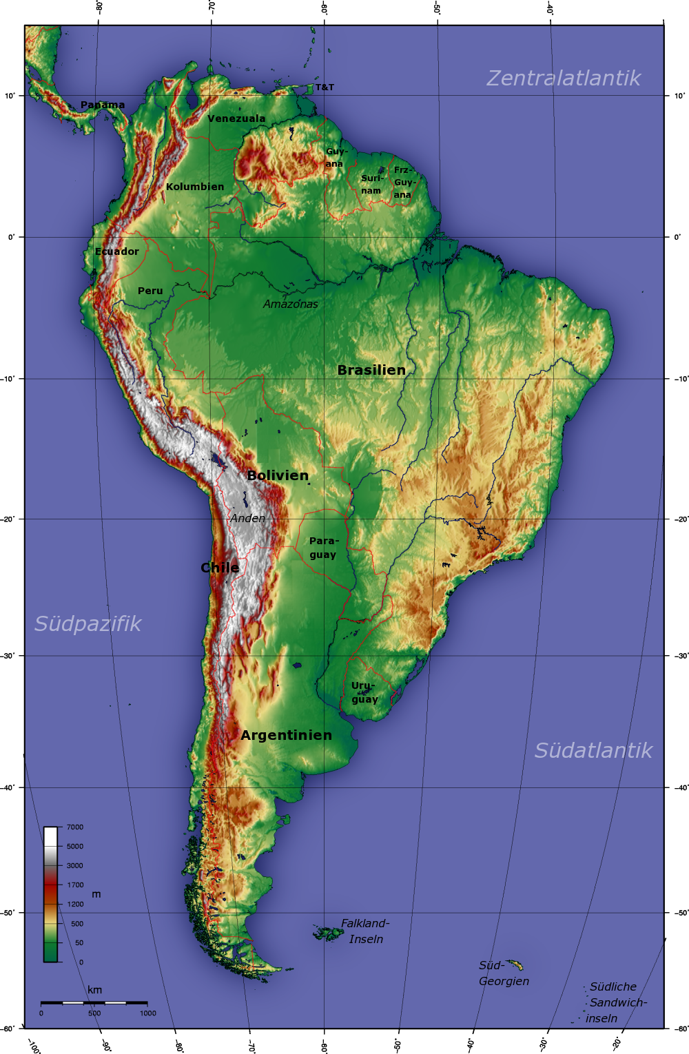 Map of South America (Topographic Map) : Worldofmaps.net - online ...