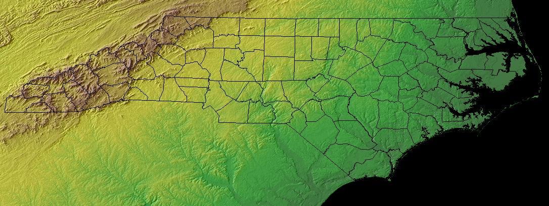 Map of North Carolina (Topography) : Worldofmaps.net - online Maps ...