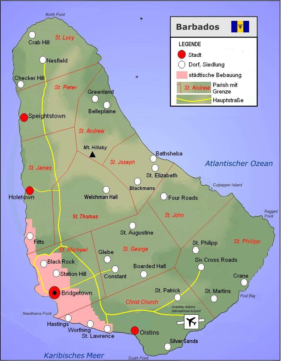 Map of Barbados (Touristic Map) : Worldofmaps.net - online Maps and Checker Map on