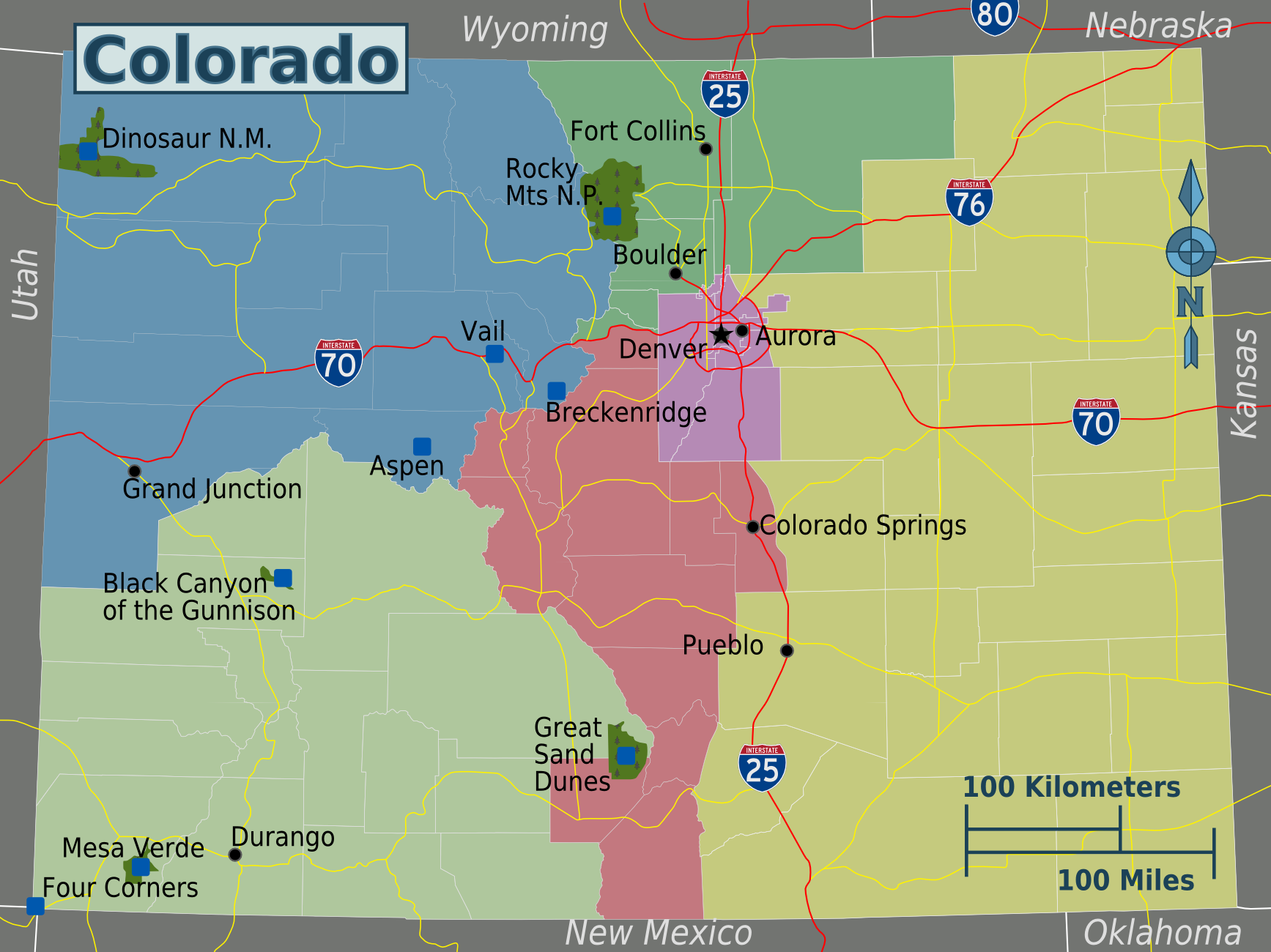 Map of Colorado (Touristic Map) : Worldofmaps.net - online Maps and ...