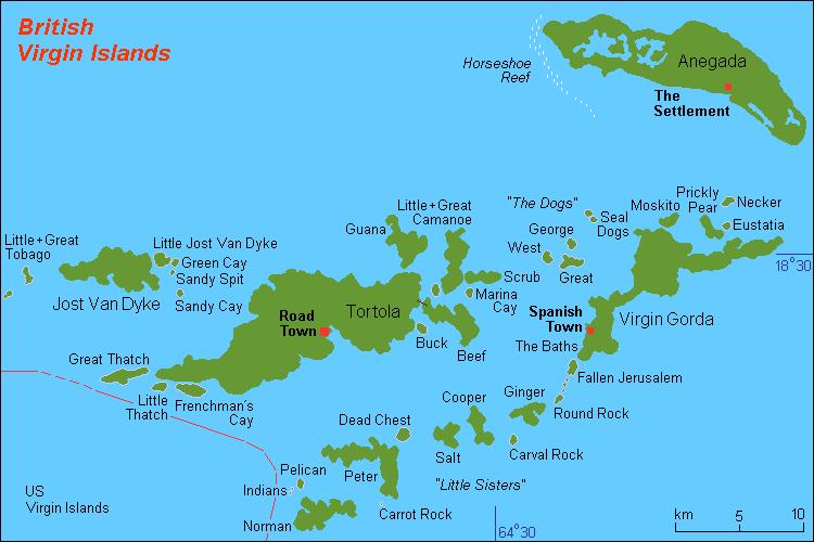 Map of British Virgin Islands (Island Names) : Worldofmaps.net ...