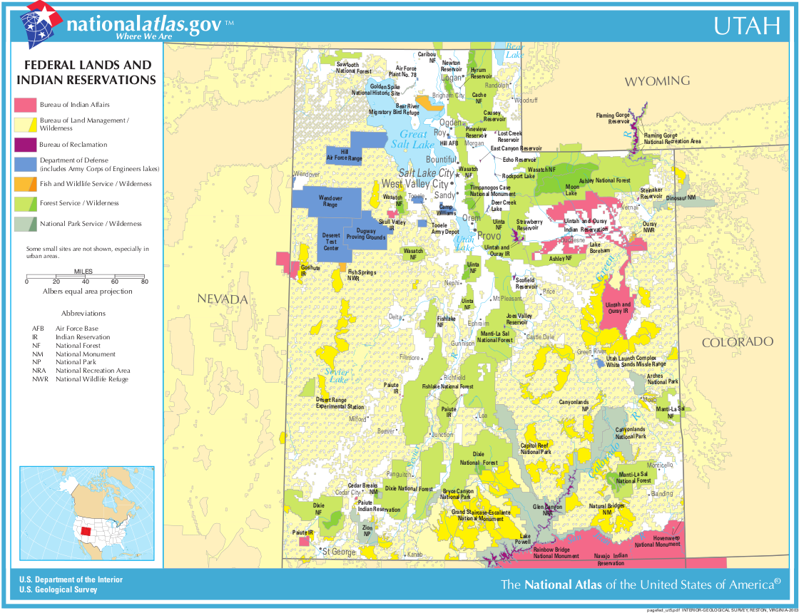 Map of Utah (Federal Lands and Indian Reservations ...