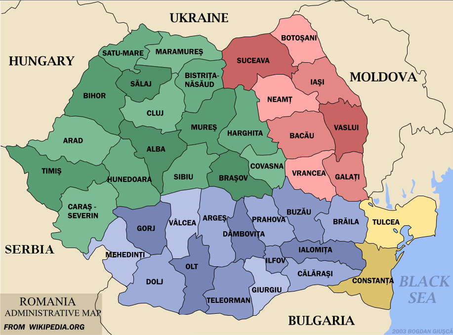 Map of Romania Administrative Divisions Worldofmapsnet online