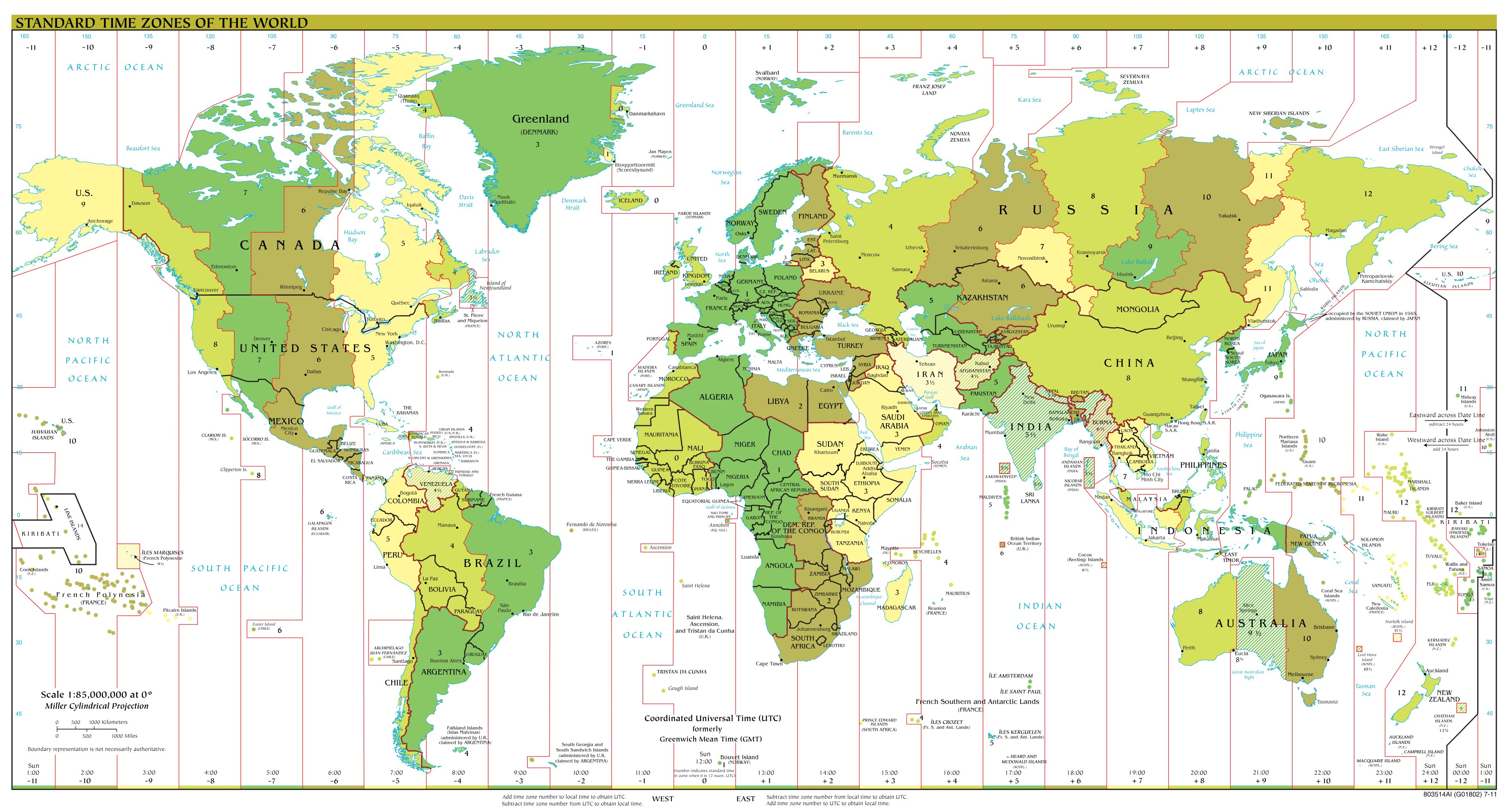 World Map (Time Zones) : Worldofmaps.net - online Maps and ...