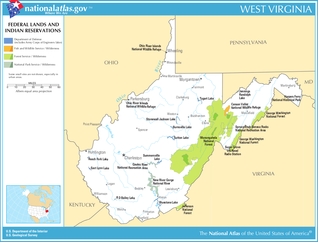 Map of West Virginia (Map Federal Lands and Indian Reservations ...