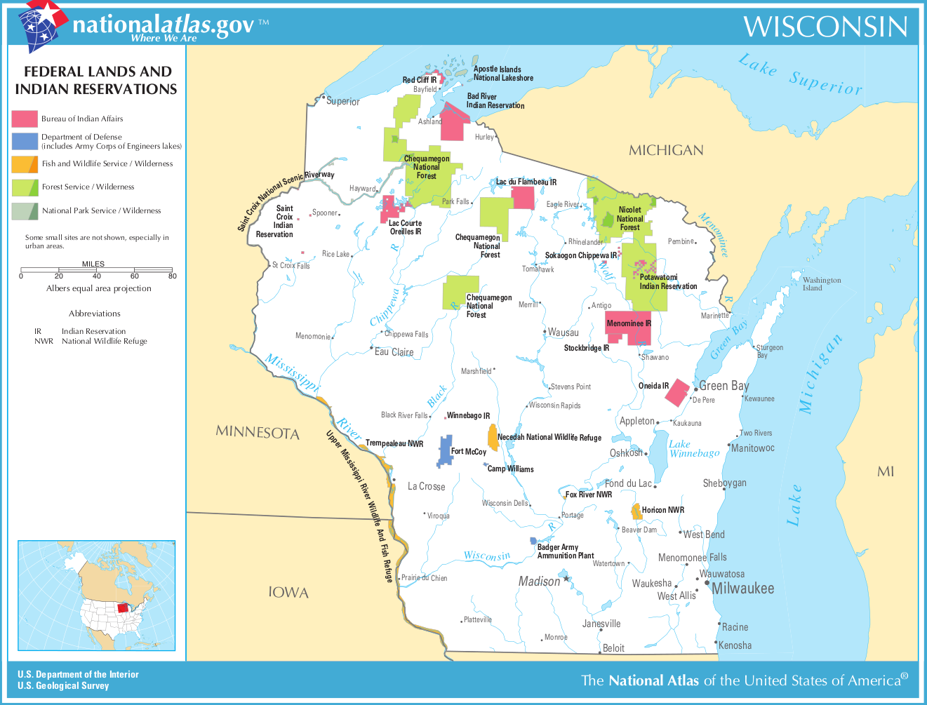Map Of Wisconsin Map Federal Lands And Indian Reservations - Wisconsin maps